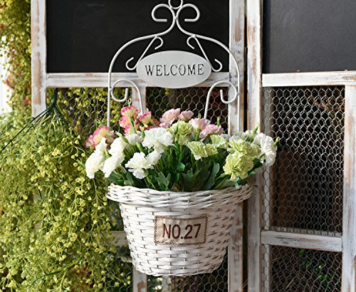 SituMi Artificial Fake Flowers Creative Iron Art Woven Wall Flower Baskets Home DecorationColor Mixer chrysanthemum