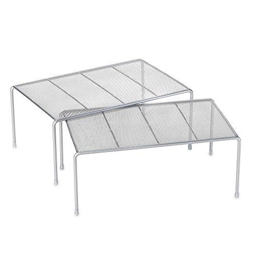 Metal Mesh 2-piece Expandable Cabinet Shelf Set