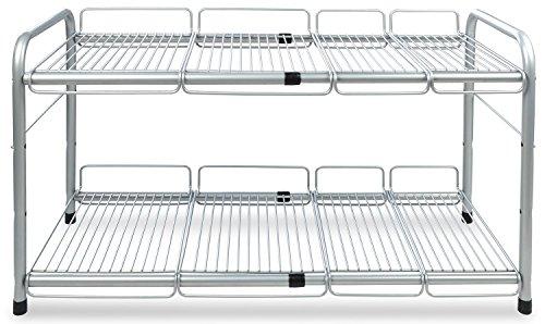Surpahs 2 Tier Under Sink Expandable Shelf Organizer Storage Rack Silver