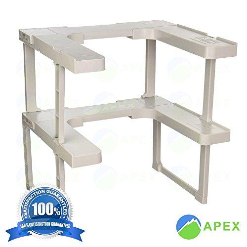 APEXBRAND Spice Shelf Rack Stackable Organizer Jar 64 Cabinet RV Trailer Small Area Kitchen Bathroom Adjustable