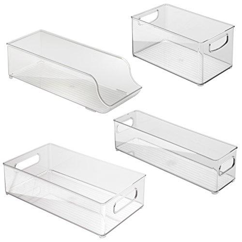 InterDesign 4 Piece USA Made Stackable Kitchen Transparent Storage Organizer Bins for Fridge Freezer Pantry and Cabinet Organization