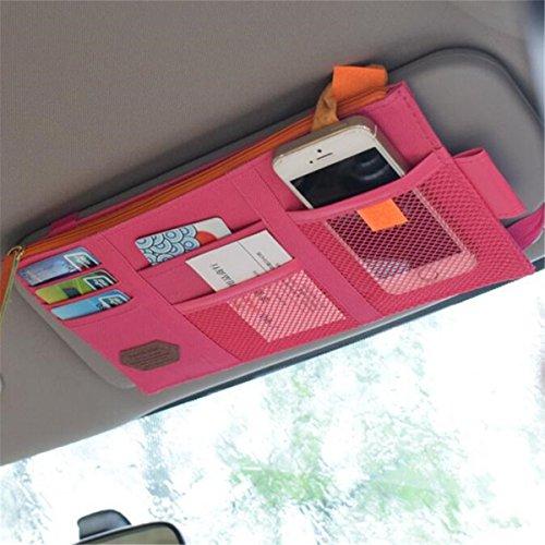 TRADERPLUS Canvas Multi-function Car Space Sun Visor Organizer Card Phone Storage Pouch Bag Holder RoseRed