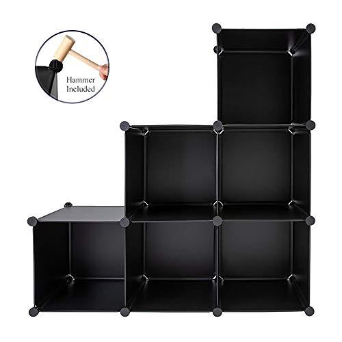 Honey Home Cube Storage 6 Cube OrganizerDIY Plastic Closet Modular Book Shelf Organizing Shelving for Bedroom Living Room Office All Black