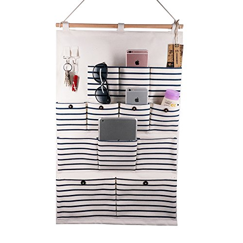 Hanging Organizer With Pockets Fabric Wall Door Storage Home Cloth Closet Organizing Bags - Blue Stripe 12 Pockets With Pothook