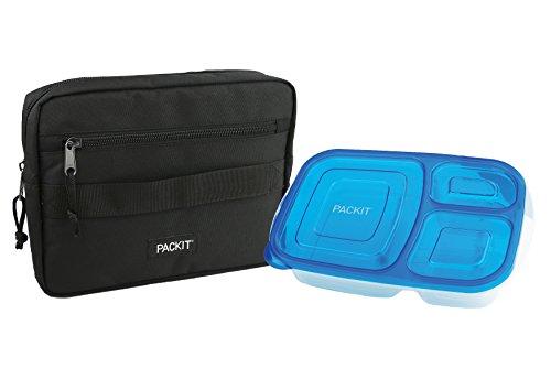 PackIt Freezable Bento Box Set Freezable Sleeve and Reusable Bento Box Container Black