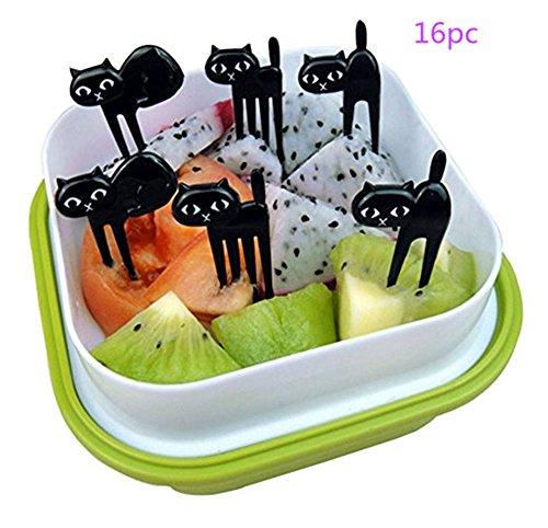 Dailyextreme Plastic Picks Fruit Forks Funny Black Cat Fruit Fork Picks Kids Bento Lunch Box Forks for Home and Restaurant12pc