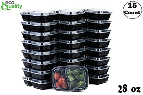 EcoQuality Meal Prep Containers 15Pack28oz 2 Compartment with Lids Reusable Bento Box Food Storage Containers  BPA Free  Stackable  Lunch Boxes MicrowaveDishwasherFreezer Safe 21 day fix