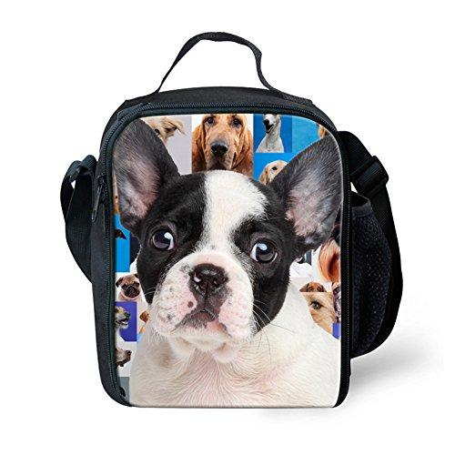 HUGSIDEA Trendy Dog Boston Terrier Printed Lunch Bags for Kids School Adults Lunchbox