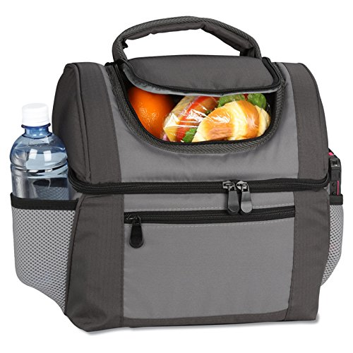 Large Dual Compartment Insulated Lunch Bag  Lunchbox  Cooler by Sacko For Adults Men Women Great for Work Camping Picnics The Beach etc