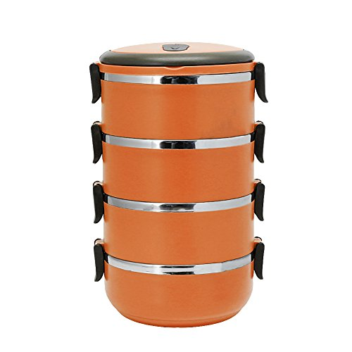 34 Layer Stainless Steel Thermal Insulated Lunch Box Bento Food Container Round 4compartments Orange