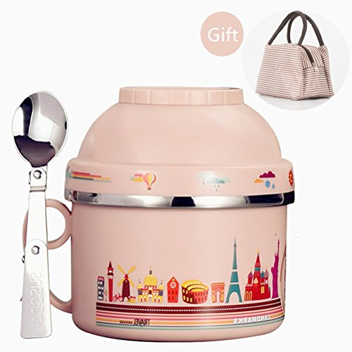 Insulated Lunch Box for Kids with Lunch Bag Stainless Steel Vacuum Bentos  Food Carrier Food Container  Taffin Lunch Box Containers Portion Control Containers - Hold Warm for 3 Hours12LPink