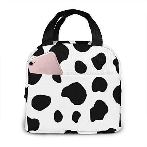 Lunch Bag Cow Spot Reusable Tote Portable Bento Box Handbag Warm Cool Food