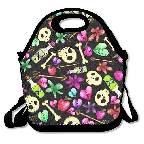Skull Design Reusable Insulated Lunch Bag Fashion Designer Lunch Box Neoprene Lunch Tote
