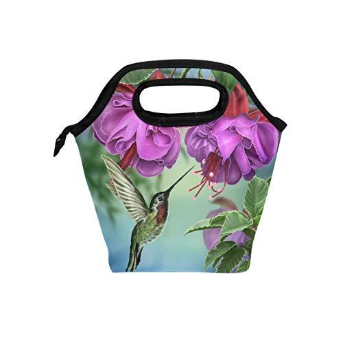 Naanle Bird Hummingbird Insulated Zipper Lunch Bag Cooler Tote Bag for Adult Teen Men Women Bird Lunch Boxes Lunchboxes Meal Prep Handbag