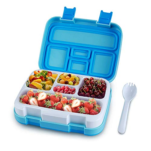 Kids Bento Lunch Box for Kids Children Boys Girls Leakproof Lunchboxes Bentobox with Fork for School Picnic Travel BPA Free5 Compartments Blue