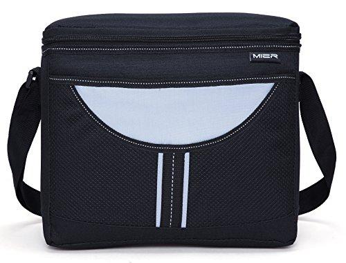 MIER Insulated lunch Box Bag Adult Men and Women Soft Cooler Bag with Shoulder Strap Leakproof Liner 16canBlack