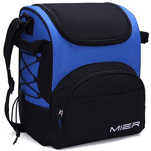 MIER Large Insulated Lunch Bag Reusable Lunch Box Picnic Cooler Bag for Men Women Kids Adjustable Shoulder Strap Blue