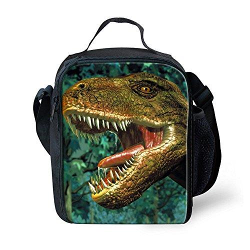 INSTANTARTS Fashion Dinosaur 3D Print Kids School Small Lunch Bags Keeps Food Hot Cooler Green