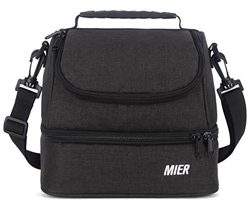 MIER 2 Compartment Small Lunch Bag for Men Women Kids Leakproof Cooler Lunch Tote with Shoulder Strap Dark Grey