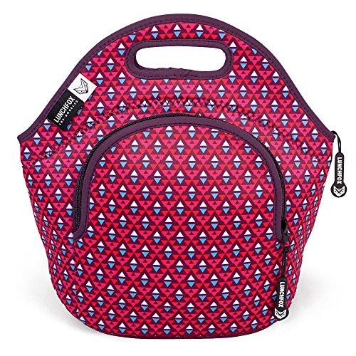 LunchFox Insulated Neoprene Lunch Bag Tote for Women Teen Girls PinkRed - The Melrose