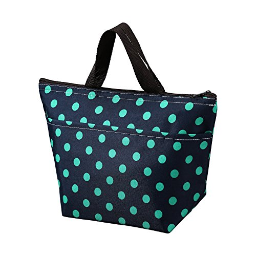 Printing Lunch Bags Arricastle Oxford Cloth Aluminum Foil Insulated Zip Cooler Bag Portable Takeaway Aluminum Film Pack Cooler Bag Lunch Box Package Small Green Dots