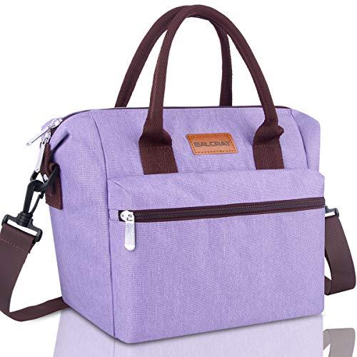 BALORAY Leakproof Lunch Bag for Women Adjustable Shoulder Strap Leakproof Cooler Lunch Tote Bag for WorkPicnicPurple