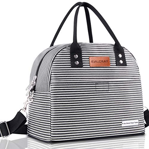 BALORAY Reusable Lunch Bag for Women Men Multi-functional Lunch Tote Bags with Shoulder StrapThermal Cooler Bag Lunch Container for Women Men Work Picnic Black White Strip