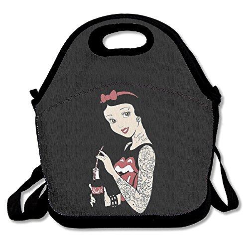 BUSHUO Tattoo Snow White Lunch BagPicnic Bag Black