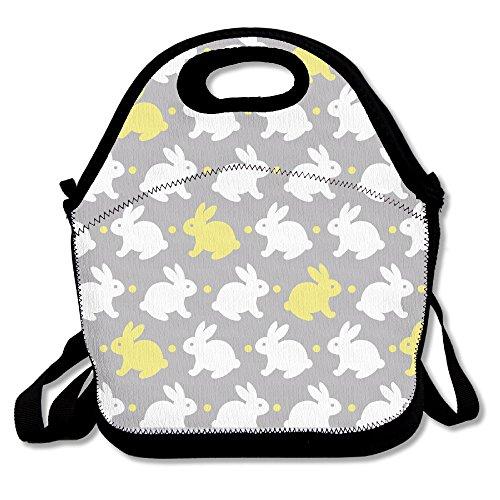 Bing4Bing Multifunctional Durable Insulation White Yellow Rabbits Lunch Box Bag Portable Slant Double Shoulder