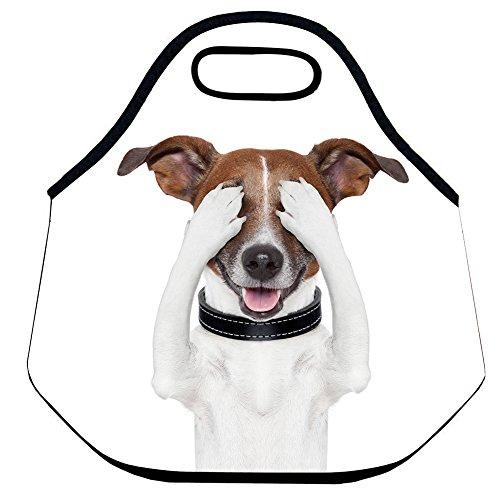 Estrellaw Tote Bag Lovely Dog Hiding Eyes White Lunch Bag