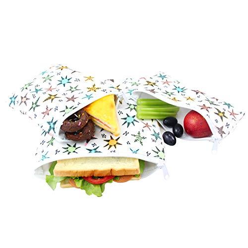 Langsprit Premium Reusable Sandwich Snack Bags-Washable Lunch Bags - Set of 3 - Star