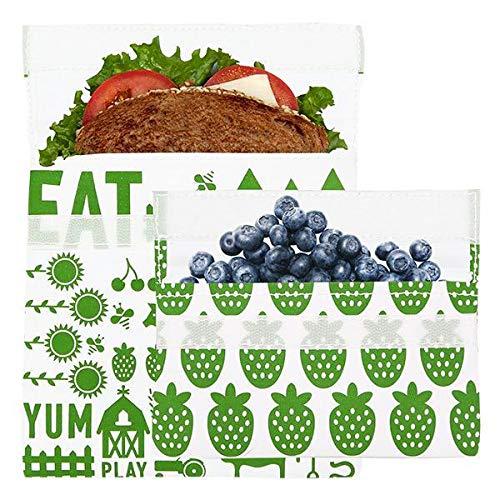 Lunchskins Reusable 2 Piece Food Storage Bag Set 1 Sandwich Bag  1 Snack Bag Green Farm