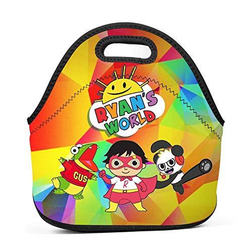 HOOPNUA Ryan Toy Reviews Lunch Bag Insulated Reusable Neoprene Lunch Box Waterproof Tote Bento Bag With Zippe Handbag For Men Women Adults Kids Girls Boys