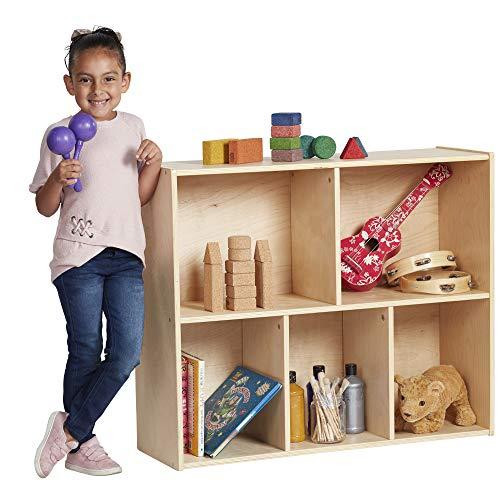 ECR4Kids Birch Streamline Storage Cabinet  Hardwood Classroom Home Storage Solution for Kids  5-Compartment 30 H