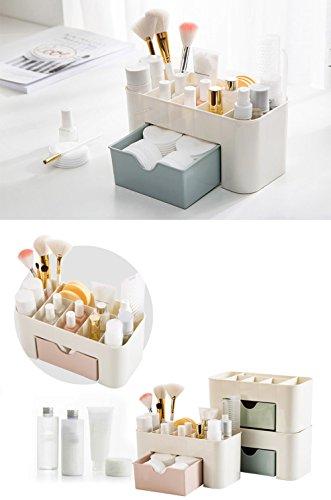 Home Storage Convenient Saving Space Desktop Cosmetics Jewelry Makeup Storage Drawer Type Organizer Box Blue