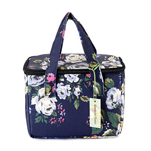 WONDERFUL FLOWER Lunch Box Cooler Bag lunch bag flower 003Navy