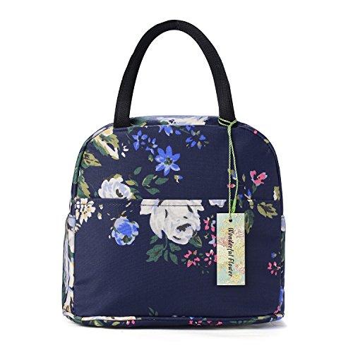wonderful flower Insulated Lunch Box Cooler Bag lunch bag flower 003Navy