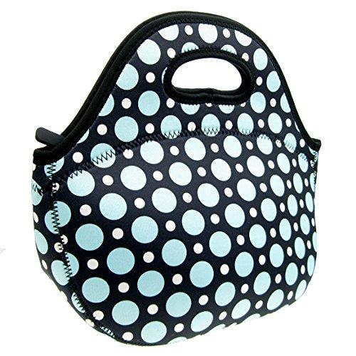 Neoprene Blue Dot Lunch Tote Bag - Insulated Waterproof Lunch Box for Women Adults Kids Girls and Teen Girls - Homwe