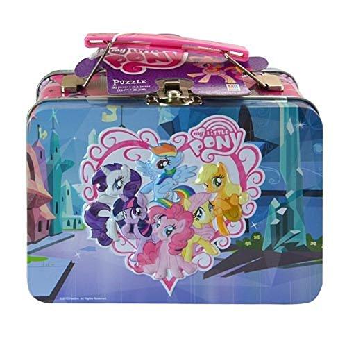 My Little Pony Friendship Is Magic Small Storage Lunch Tin Featuring Twilight Sparkle Rarity Rainbow Dash Applejack Fluttershy Pinkie Pie Plus Bonus 48pc Puzzle Inside