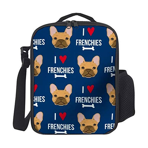 SARA NELL Kids Lunch Box Insulated Frenchie Dog Fabric Lunch Bag Large Lunch Boxes Cooler Meal Prep Lunch Tote with Shoulder Strap for Boys Girls Teens Women Adults