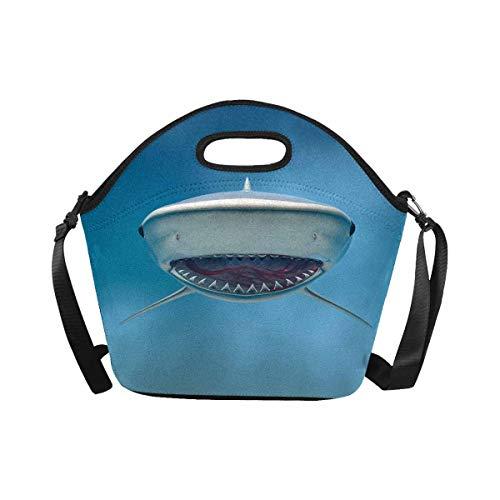 InterestPrint Large Insulated Neoprene Lunch Bag Tiger Shark Lunchbox Handbag with Shoulder Strap