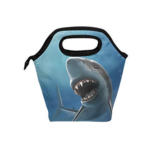 Linomo Ocean Sea Animal Shark Lunch Box Insulated Lunch Bag Cooler Lunchbox Schoo Lunch Tote Bag Handbag Reusable Bag for Kids Woman Men