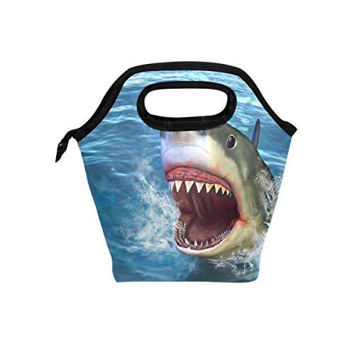 MOFEIYUE Lunch Box Bag Ocean Animal Shark Jaw Insulated Lunchbox Tote Cooler Handbag for School Work Office Picnic