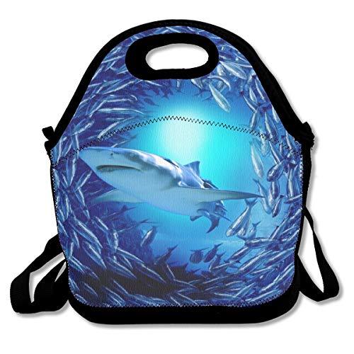SARA NELL Neoprene Fierce Animal Insulated Shark Lunch Backpack Underworld Sea Animal Lunchbox Handbag with Adjustable Shoulder Strap Best Gift for Men Women Teen Boys Girls