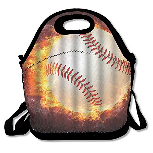 Cool Baseball With Bright Flame Design Art Lunch Box Tote Bag Cool