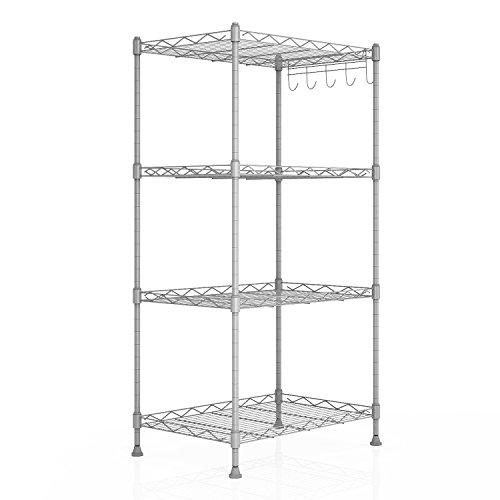 Homdox 4-Shelf Unit Kitchen Wire Shelving rack Commercial Grade Adjustable Storage Shelves Organizer