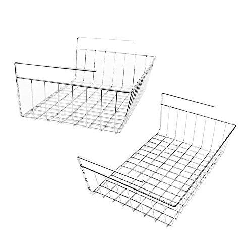 My Under Shelf Basket  2Pcs Space Saving Easy Attach Stack Slide Under Shelf Storage  Premium Anti Rust Stainless Steel  Fit Dual Hooks For Wardrobe Desk Bookshelf Cupboard Cabinet  Silver  6002