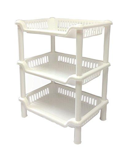Plastic Shelf Bathroom Storage Shelves 3 Tier Shelves Corner Organizer For Kitchen Bathroom Shampoo Cosmetics Small White
