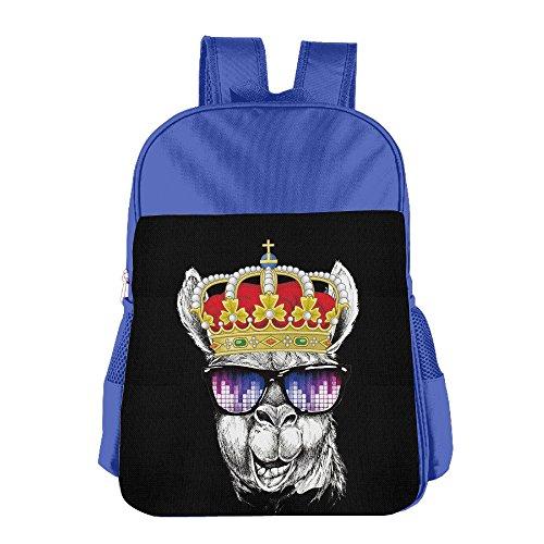 Llama Crown Glasses Kids Lunch Tote Bag School Backpack RoyalBlue Children Shoulder Daypack