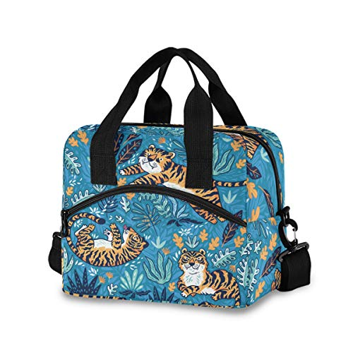 Blueangle Cartoon Orange Tigers Lunch Bag Large Insulated Lunch Box with Detachable Shoulder Strap Lunch Cooler Lunch Bag for Women